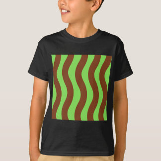 Green and Brown Wave Stripes T-Shirt