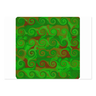 Green and brown weed swirl pattern business card templates