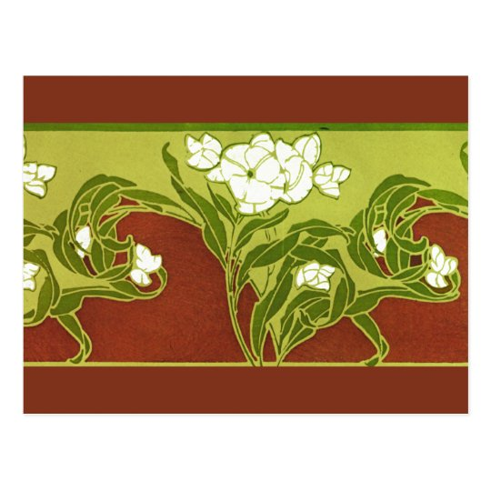 Green and Brown With White Flowers Postcard