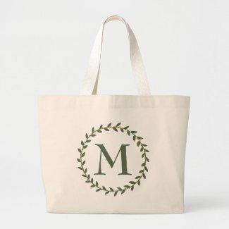 Green and Brown Wreath Monogram Large Tote Bag