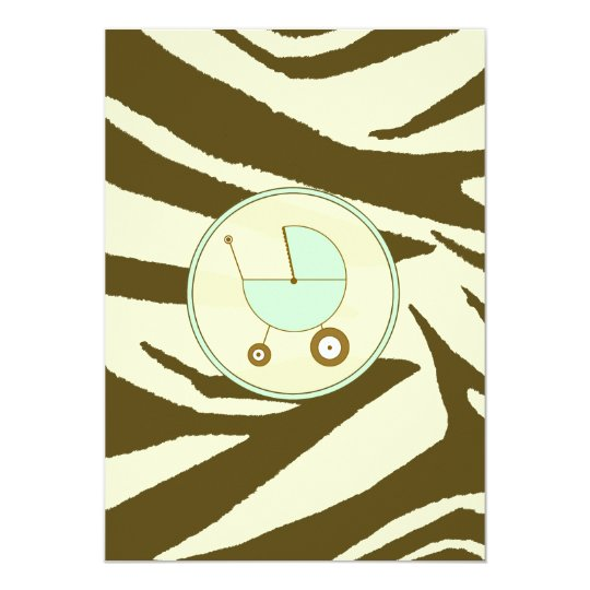 Green and Brown Zebra Print Baby Shower Invitation