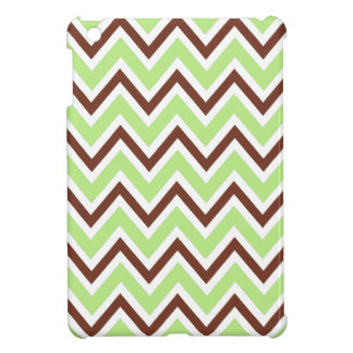 Green and brown zigzag chevron pattern trendy iPad mini cover
