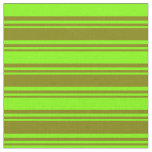 [ Thumbnail: Green and Chartreuse Colored Stripes Pattern Fabric ]