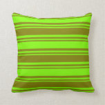 [ Thumbnail: Green and Chartreuse Colored Stripes Pattern Throw Pillow ]