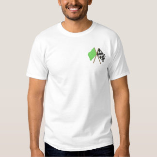 Green and Checkered Flag Embroidered T-Shirt