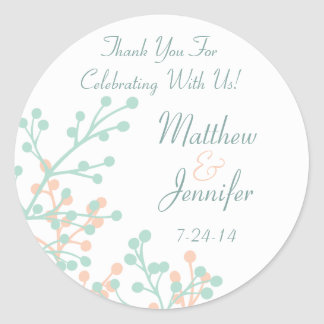 Green and Coral Floral Custom Wedding Favor Labels