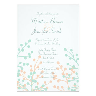 "Green and Coral Floral Custom Wedding Invitation 5"" X 7"" Invitation Card"