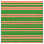 [ Thumbnail: Green and Coral Lines/Stripes Pattern Fabric ]
