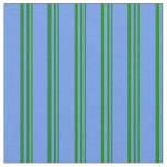 [ Thumbnail: Green and Cornflower Blue Colored Lines Fabric ]