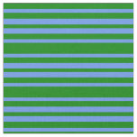 [ Thumbnail: Green and Cornflower Blue Colored Striped Pattern Fabric ]