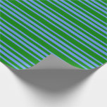 [ Thumbnail: Green and Cornflower Blue Colored Striped Pattern Wrapping Paper ]