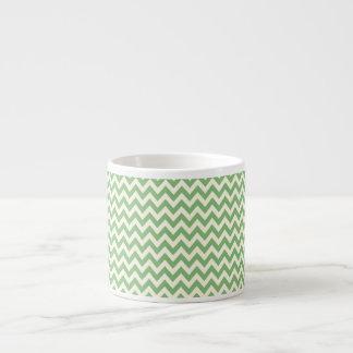 Green and Cream Chevron Patterned Espresso Cup
