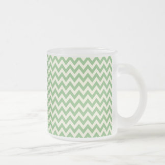 Green and Cream Chevron Patterned Frosted Glass Coffee Mug