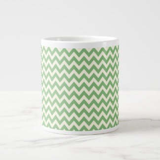 Green and Cream Chevron Patterned Giant Coffee Mug