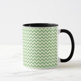 Green and Cream Chevron Patterned Mug