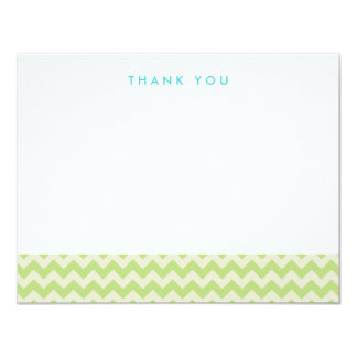 Green and Cream Chevron Thank You Note Cards