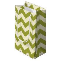 Green and Cream Chevron Zigzag Pattern Gift Bag