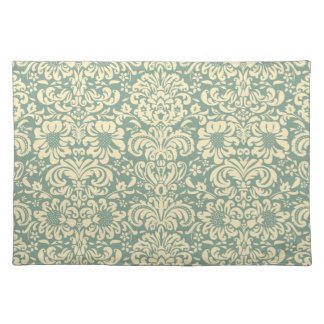 Green and Cream Damask Cloth Placemat