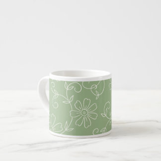 Green and Cream Floral Espresso Mug