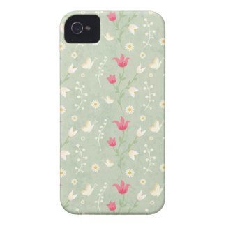 Green and cream floral stylish blackberry bold Case-Mate iPhone 4 cases