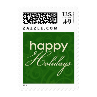 Green and Cream Happy Holidays Postage Stamp
