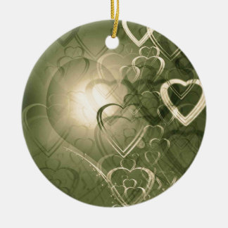 Green and cream heart outlines on green background ceramic ornament