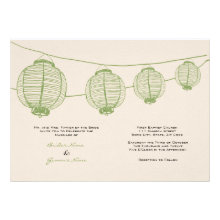 Green and Cream Lanterns Wedding Invitation