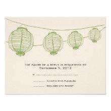 Green and Cream Lanterns Wedding RSVP Custom Announcement