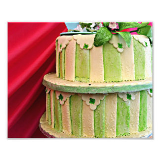 Green and cream stripped wedding cake with red photo print