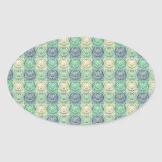 Green And Cream Vintage Embossed Pattern Oval Sticker
