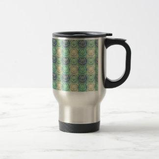Green And Cream Vintage Embossed Pattern Travel Mug