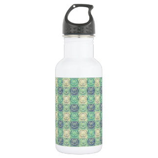 Green And Cream Vintage Embossed Pattern Water Bottle