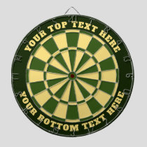Green and Cream Yellow Dartboard with Custom Text