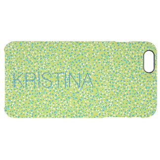 Green and Cyan Blue Snow Leopard Clear Phone Case