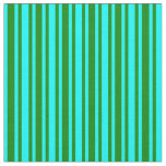 [ Thumbnail: Green and Cyan Colored Stripes Fabric ]