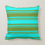 [ Thumbnail: Green and Cyan Pattern Throw Pillow ]