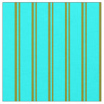 [ Thumbnail: Green and Cyan Stripes/Lines Pattern Fabric ]