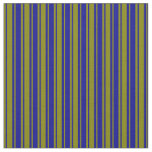 [ Thumbnail: Green and Dark Blue Colored Lined/Striped Pattern Fabric ]