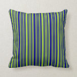 [ Thumbnail: Green and Dark Blue Colored Lines Pattern Pillow ]