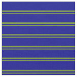 [ Thumbnail: Green and Dark Blue Colored Striped Pattern Fabric ]