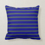 [ Thumbnail: Green and Dark Blue Colored Striped Pattern Pillow ]