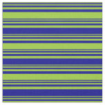 [ Thumbnail: Green and Dark Blue Lined/Striped Pattern Fabric ]