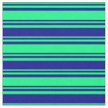[ Thumbnail: Green and Dark Blue Lines/Stripes Pattern Fabric ]