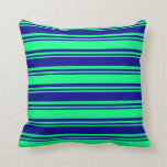 [ Thumbnail: Green and Dark Blue Lines/Stripes Pattern Pillow ]