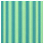 [ Thumbnail: Green and Dark Cyan Lined Pattern Fabric ]
