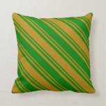 [ Thumbnail: Green and Dark Goldenrod Colored Lined Pattern Throw Pillow ]