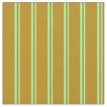 [ Thumbnail: Green and Dark Goldenrod Colored Lines Fabric ]