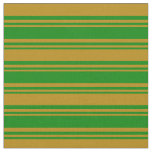 [ Thumbnail: Green and Dark Goldenrod Colored Striped Pattern Fabric ]