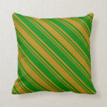 [ Thumbnail: Green and Dark Goldenrod Colored Striped Pattern Throw Pillow ]
