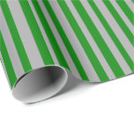 [ Thumbnail: Green and Dark Gray Colored Striped/Lined Pattern Wrapping Paper ]